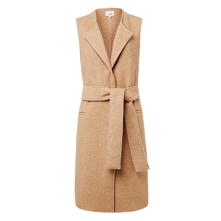 Wool/polyester Sleeveless Coat. Comfortable sleeveless style features an open front body with waist tie and long line hem. Available in various colours as shown.
