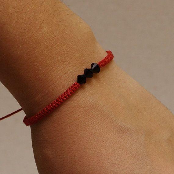 Tiny red macrame bracelet  red string bracelet  fine by KUKAJTUcom, $3.92