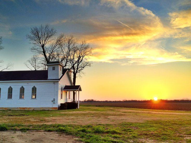 "Sunset behind a Two Spired Delta Church (Seen in the movie ""The Help"") - Greenwood, Mississippi - Mississippi Delta Sunset - Order prints from www.flatoutdelta.com -  © 2013 John Montfort Jones"