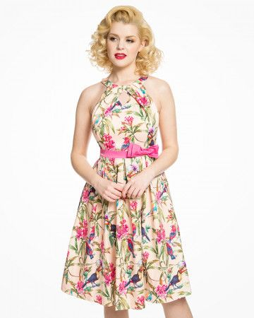 9c1edf150229 Cherel' Pink Tropical Bird Print Box Pleat Swing Dress in 2019 ...