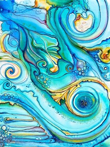 Tidal Drift by Colleen Wilcox.  Swirly ocean waves, for you, Kid.  I know you'll like a lot of her art.