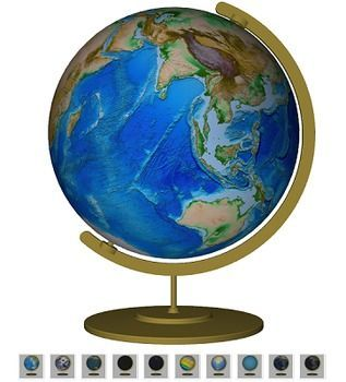 Animated Teaching Globe - 3D pdf. This is a 3D pdf file, where you can manipulate the globe to move and rotate in 3 dimensions with the touch of a mouse! Completely interactive! Great to put up on a Smartboard or on a touchscreen computer. Better than a real globe, because you can change this virtual globe to show different views...physical, political, night lights, even Pangaea. Great for Earth Day!