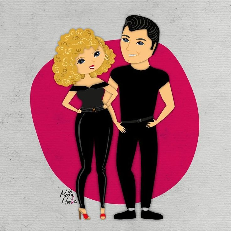 10/100 Danny & Sandy - Grease. #CinemaAndMore100illustrationsProject  #grease #mollymoska