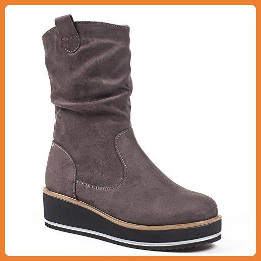 Ideal Shoes, Damen Stiefel & Stiefeletten , Grau - grau - Größe: 39 - Stiefel für frauen (*Partner-Link)