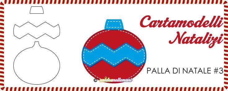 Cartamodello Palla di Natale con motivo a zig zag da stampare gratis per creare applicazioni in stoffa, addobbi in feltro e pannolenci, decorazioni di carta