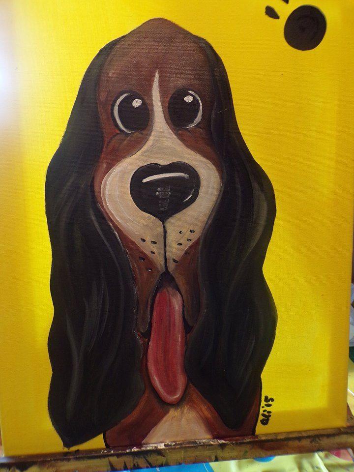 Puppy pawprints Bassett dog Oil on canvas 30cm x 40cm £25.00 + £3.50 P&P