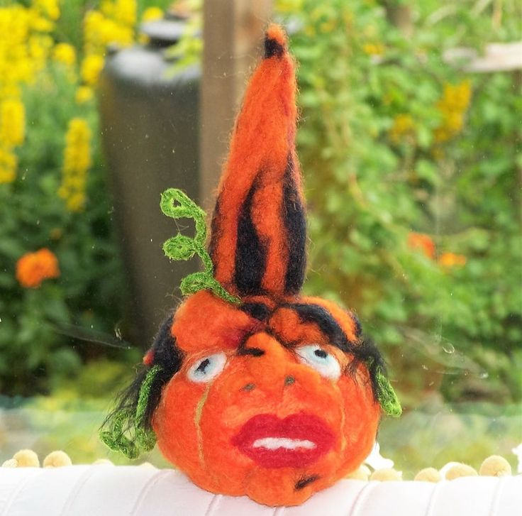 OOAK Woodland Fantasy Witch Pumpkin Face Artisan Creation Needle Felted