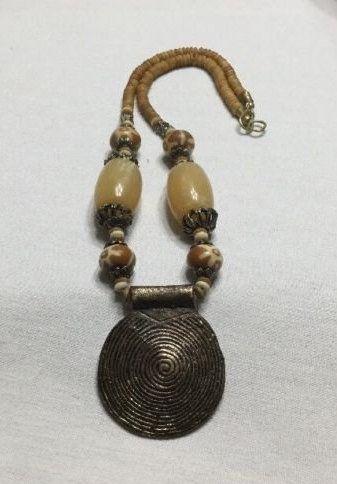 0cf364981 Nepal Vintage Dzi Handmade Large BRASS Pendant Tan & Brown Beads by  BohoGemStudio on Etsy