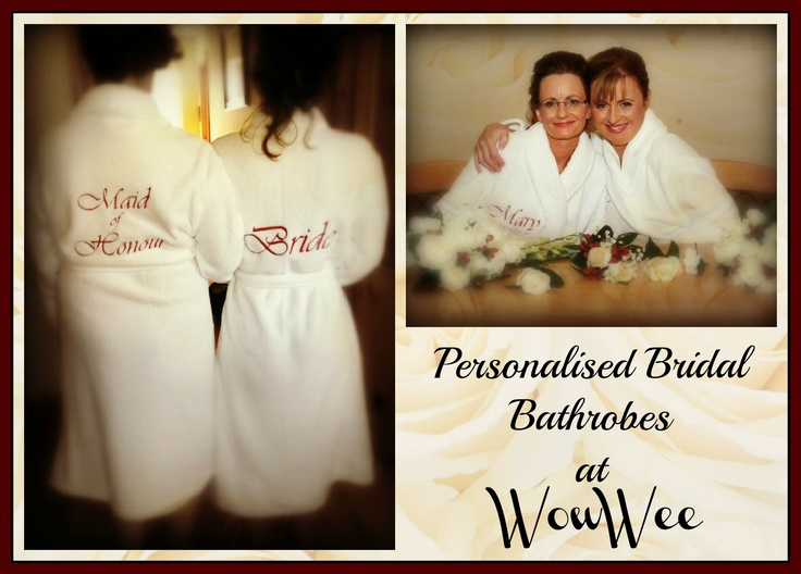 Personalised Bridal Dressing Gowns at WowWee.co.uk to add a special touch to your mornings preperations. Sit back and relax in your fluffy personalised bridal dressing gowns.