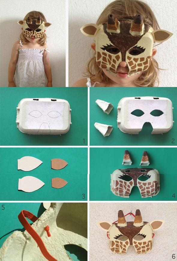 DIY Egg Carton Giraffe Mask