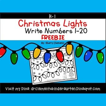 FREEBIE Write Numbers 1-20 Christmas Lights - December --- Please leave me some feedback! Thank you so much! This one page freebie requires students to write the numbers 1-20 on Christmas Lights. There is a number line at the top of the page for students to use as a reference.