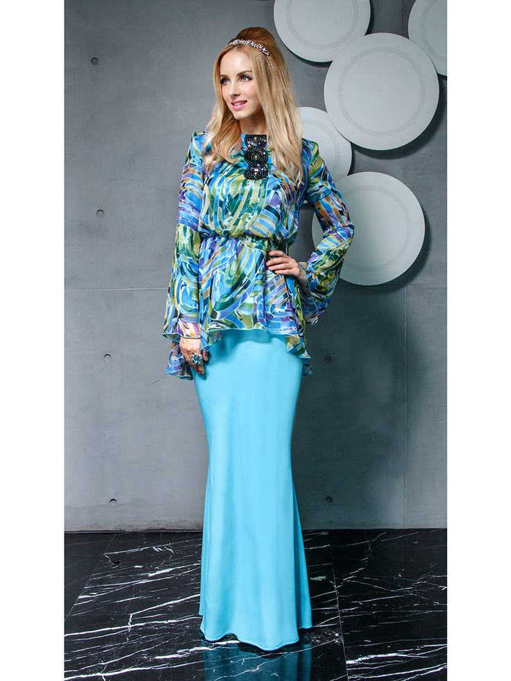 Printed Kurung Modern with Bell Sleeves in Blue