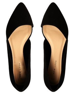 OBSESSED!  New Look Jingy Black Asymmetric Pointed Flat Shoes