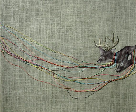 """Masako Miki - amnesia series / guided by rainbows . 10"""" x 12"""" . acrylic and thread on paper . © 2010: Embroidery Ideas, Artists Blog, Everyday Art, Rainbows, Coyote Masako Miki, Miki Acrylics, Escapeintolif Masakomiki6, Paper Coyote Masako, Escapeintolife Masakomiki6"""
