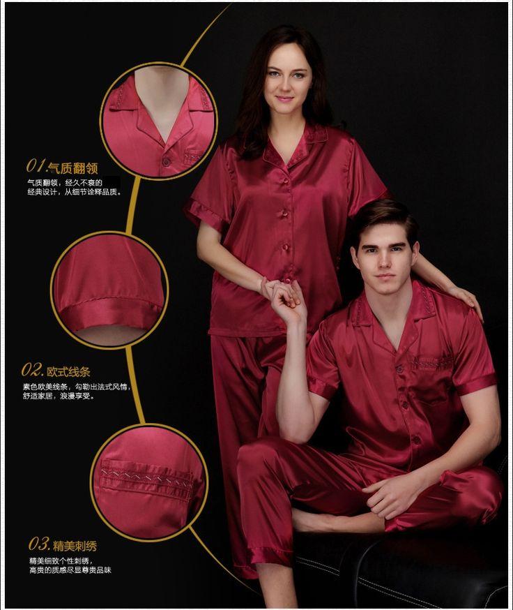 Luxury Mens silk shirts pyjamas men male sleepwear mens sexy sleepwear pajama twinset men mens silk pajamas