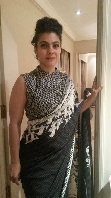 Check out Kajol wearing an AM:PM (Ankur Modi & Priyanka Modi) black and white sari