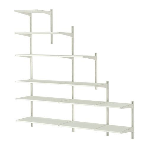 Algot Wall Upright Shelves White Slanted Ceiling Closet