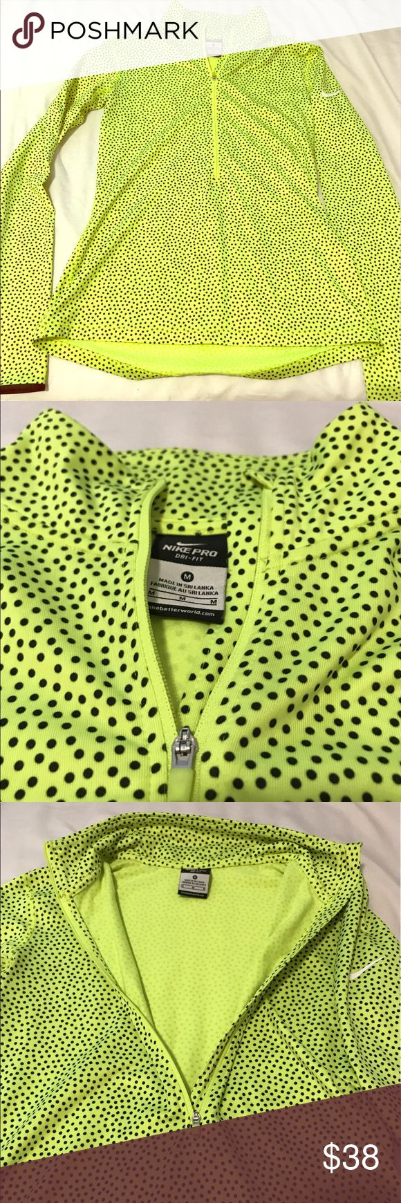 Neon Nike Polka Dot Zip Up Neon green Nike zip up with black polka dots and thumb holes. The jacket has a nice tailored fit, size medium but runs small. Only worn twice, it's in perfect condition! Nike Tops Sweatshirts & Hoodies