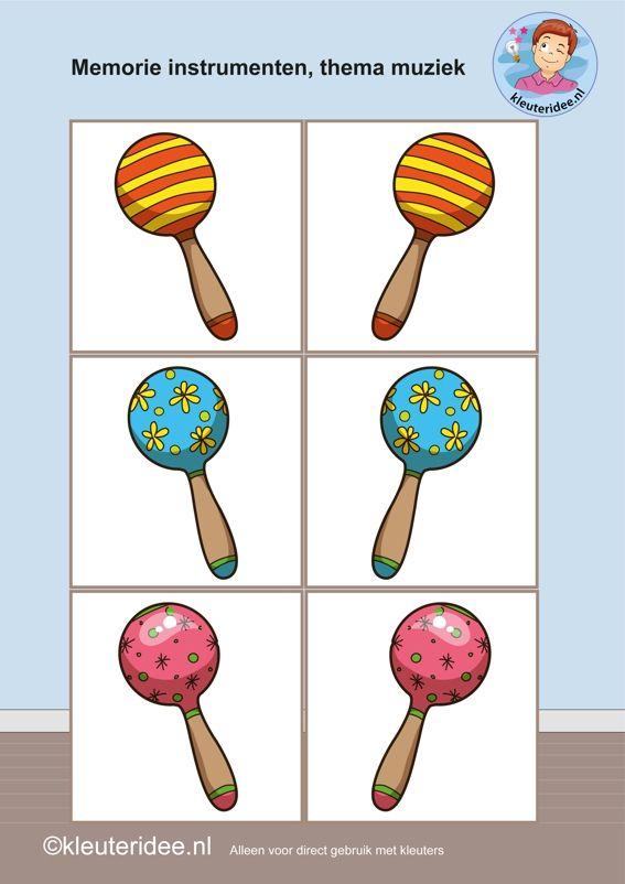 Muziekinstrumenten memorie 4, thema muziek, kleuteridee, Kindergarten music memory game, free printable.
