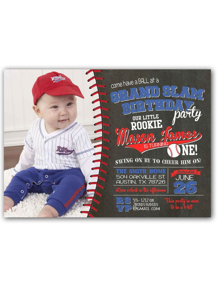 332 best Birthday Ideas images – Baseball First Birthday Invitations