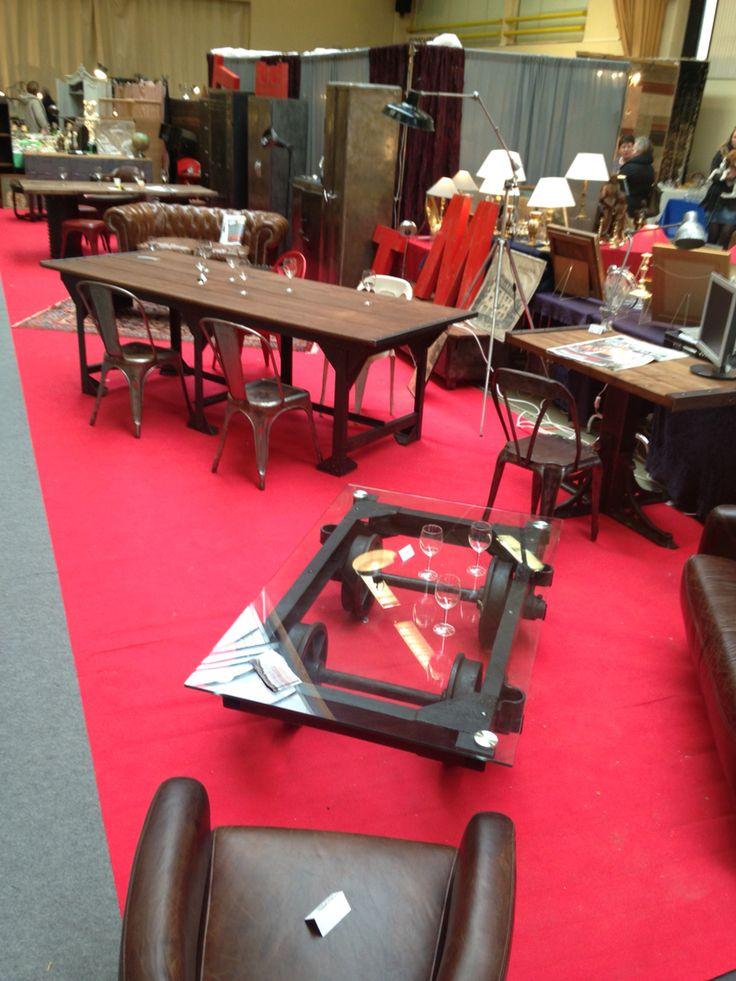 Table basse ancien chariot de mineur, plateau en verre  Table basse industri -> Table Basse Industrielle Chariot Ptt
