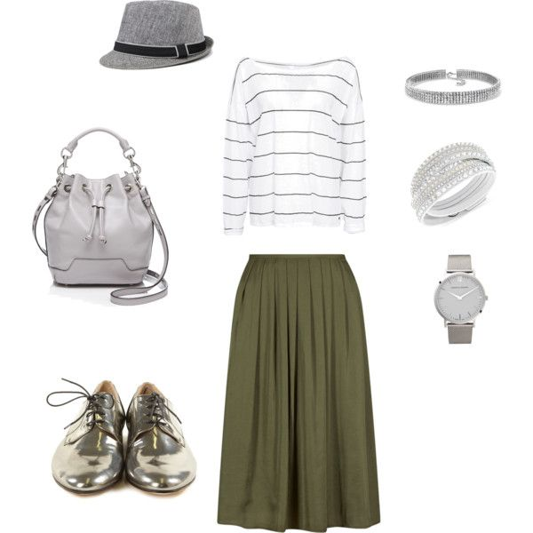 Olive Skirt + Silver Grey by edeln on Polyvore featuring, One Teaspoon, Rebecca Minkoff, Larsson & Jennings, Bling Jewelry and Swarovski