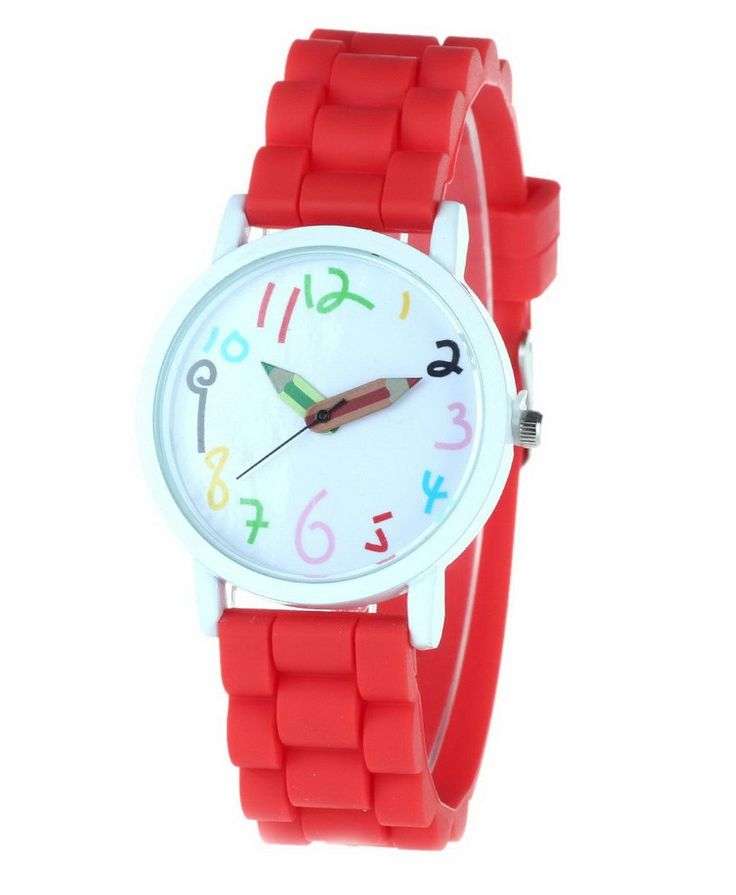 Happy Cherry Kids Candy Colors Quartz Wrist Watch with Rubber Band Sports Watch for Students Red. Large dial, clear shilly numbers, pencil pointer, candy-colored strap. Glass mirror, screw-down crown, stainless steel clasp. Mutiple corlors for your choice, fashionable sports watch for kid's school gift. Electric quartz movement. Life water resistant: withstands rain and splashes of water, but not wear it to take shower, swim, dive, etc.
