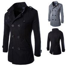 Nuevos hombres de lana de abrigo casual doble de pecho hombres chaquetas outwear abrigo de invierno abrigo negro gris tamaño