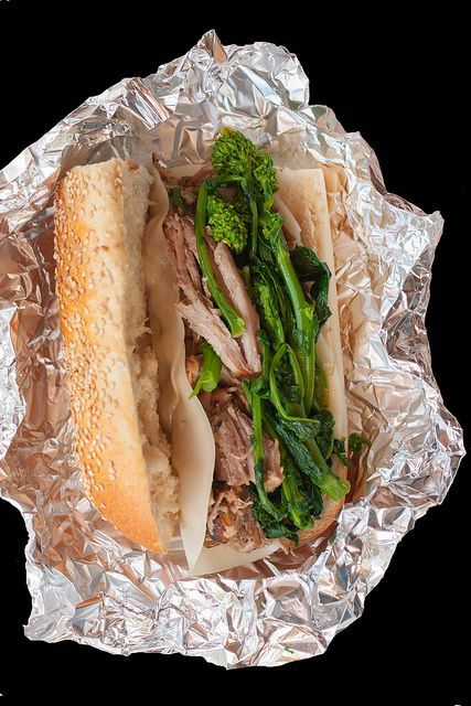 Philadelphia Roast Pork Sandwich. Use pork loin in your favorite recipe for beef au jus. Serve on a roll with lots of sharp provolone and sauteed broccoli rabe with garlic and red pepper flake.