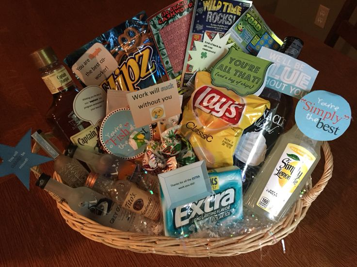 Co worker leaving gift basket, pretty proud of myself!                                                                                                                                                                                 More