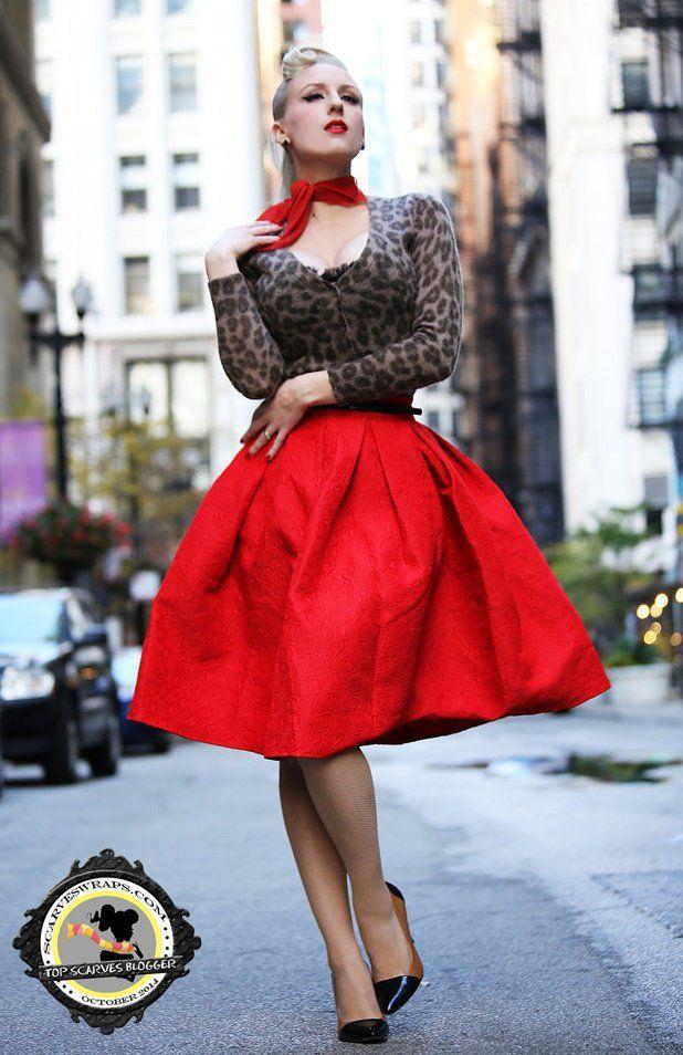 chicago chic retro pin up look scarf neckerchief blogger style rachel jensen