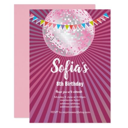 disco party glitter dance party invitation birthday cards