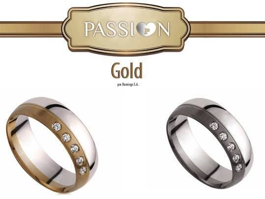 Alianças de Casamento PASSI♥N GOLD  Ouro Amarelo   Ouro Branco Ouro 19k   Ouro 9K 7mm 5 Brilhantes   5 Zircónias