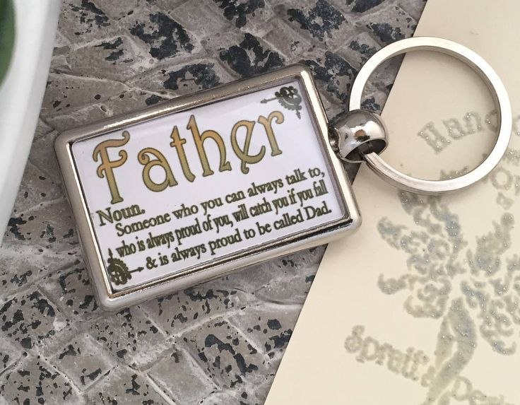 Father Keyring with Cute Noun Description by SprattsDesigns on Etsy