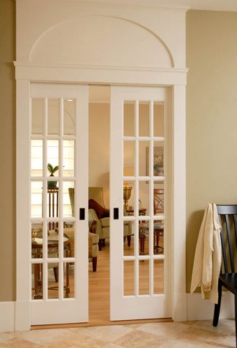 Pocket doors master bedrooms and doors on pinterest for Interior glass french doors