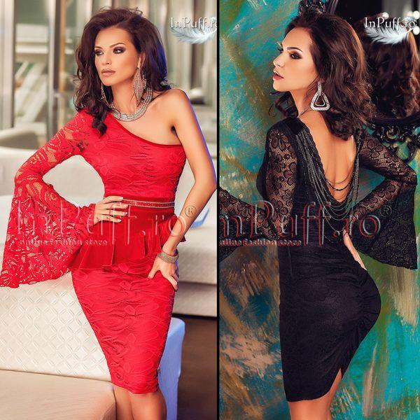 Modele de rochii de seara din dantela cu maneci evazate pentru un Revelion de neuitat!!