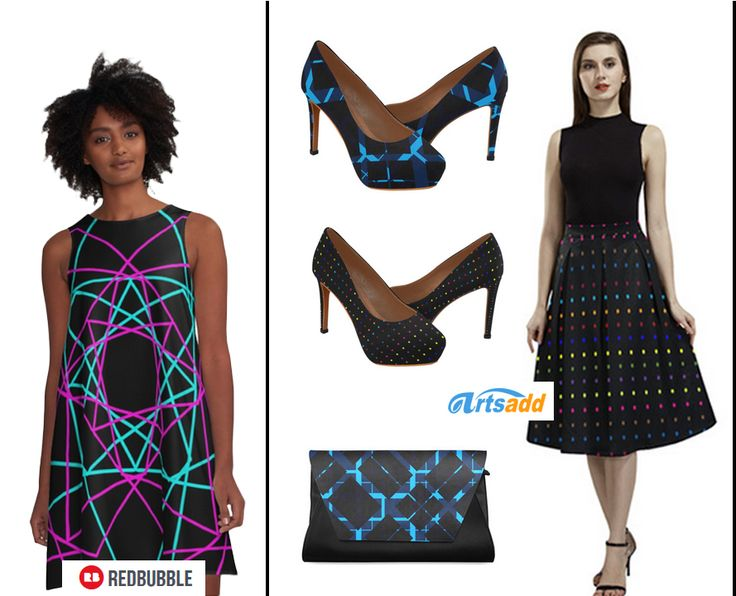 Shop this Look by Scar Design.   Crepe skirt, clutch  and high heels here:  http://www.artsadd.com/shop/dots_colors_modern_colorful_pattern_design_women_s_high_heels_model_044-1872527.html     #Alinedress #highheels #crepeskirt #clutchbag #redbubble #artsadd #giftsforher #shopthislook #thelook #modernlook #fashion #dress #skirt #shoes #modernfashion #modern #scardesign