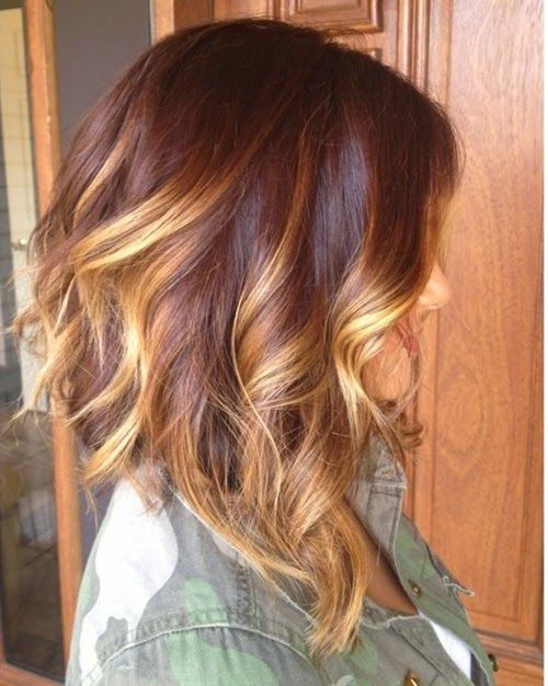 Red Balayage Hair Highlights | Long brunette a-line bob with balayage highlights and pretty loose ...