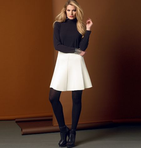 V9030 Bias skirt has side zipper and raw edge finish. #voguepatterns