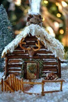 Rustic pretzel gingerbread cabin