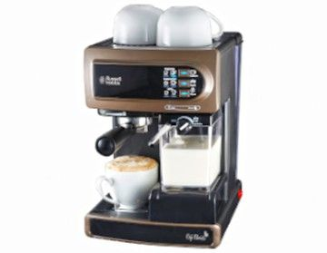 Features/Specifications Product code: RHCM45 The Russell Hobbs Café Barista is a barmen style coffee maker which lets you prepare coffee with flair and just the way you like it.  It is very easy to use and will give you perfect results time and time again!  The best feature of this machine is its patented one touch technology for brewing a Single Shot or Double Shot of Espresso, Cappuccino, Latte, Hot Milk or Hot Water at a single touch of a button.