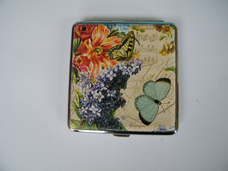 Cigarette case, vintage cigarette box,metal cigarette case with peony and rose, cigarette walet,flowers and notes case,woman walet,gift idea by KristanArt on Etsy
