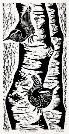 Nutty Nuthatch - hand-pulled relief print - Dona Reed