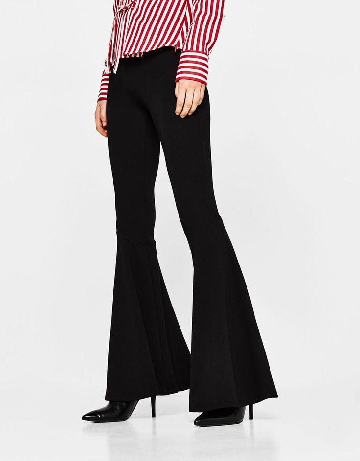 Slim flared pants with maxi ruffles - New - Bershka Italy