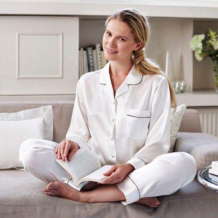 pyjama pijamas pjs white silk