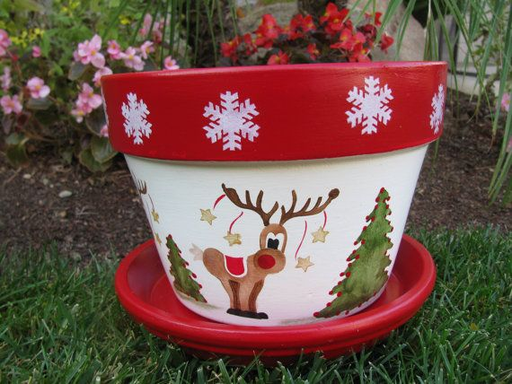 Holiday Christmas Flower Pot