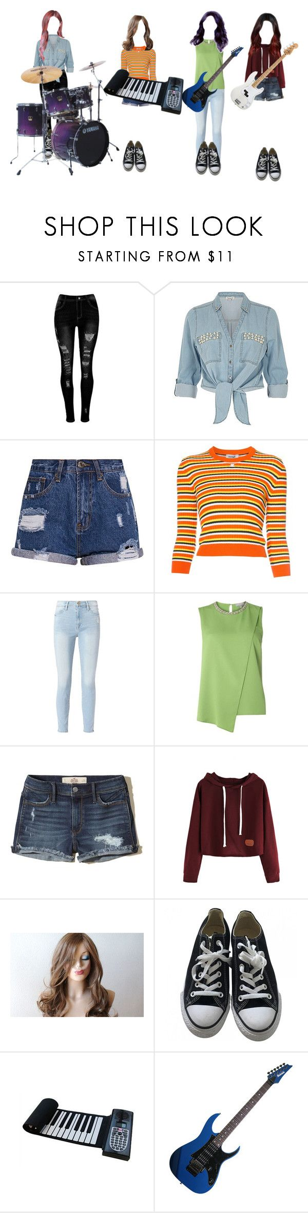"""Star Beam Band - AOA Band cover"" by princessmax ❤ liked on Polyvore featuring ZAK, Courrèges, Frame, Dorothy Perkins, Hollister Co., Converse and Yamaha"