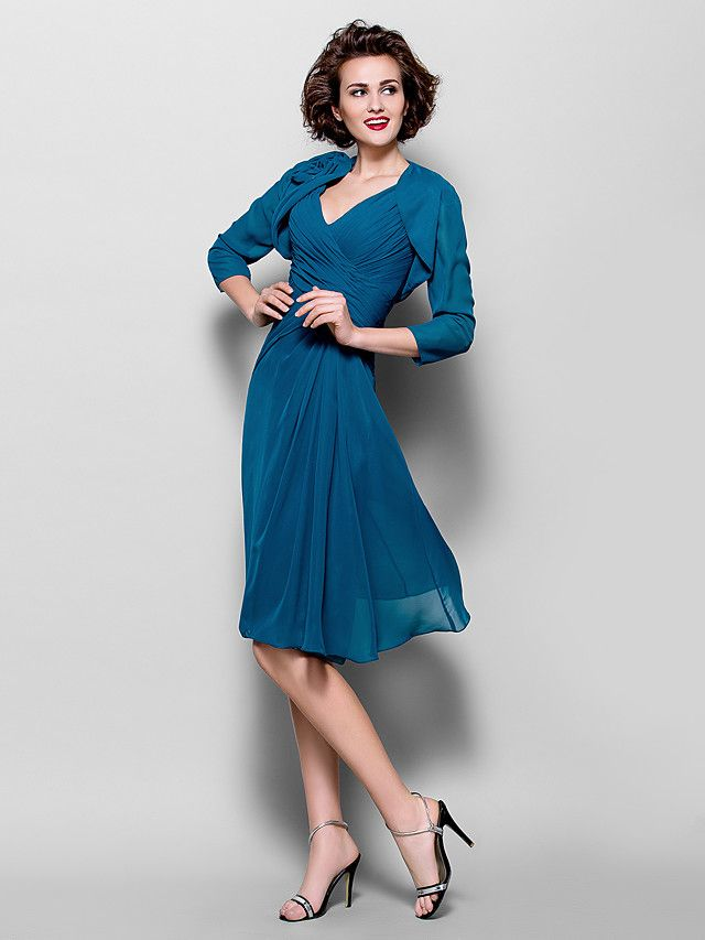 A-line Plus Sizes Mother of the Bride Dress - Ink Blue Knee-length 3/4 Length Sleeve Chiffon - USD $99.99