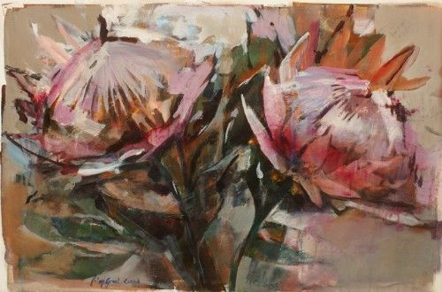 It is difficult not to admire this majestic, unique, symbolic flower ,so familiar to all South Africans. The artists wanted to approached this theme in a loose, spontaneous manner, emphasizing the ...