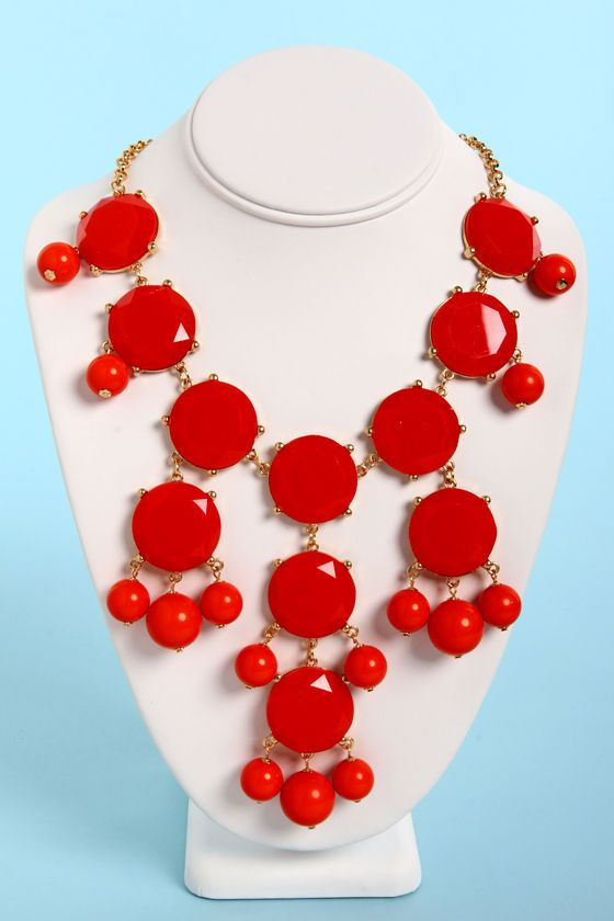 Beautiful Coral Red Necklace - Statement Necklace - Bubble Necklace -